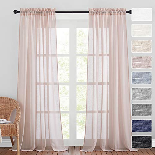 RYB HOME Pink Sheer Curtains 96 inch Long Soft Linen Curtains Vertical Semitransparent Sheer Backdrop Curtains for Canopy Bed Nursery Terrace Dining, Widh 52 x Length 96 in, 2 Pcs