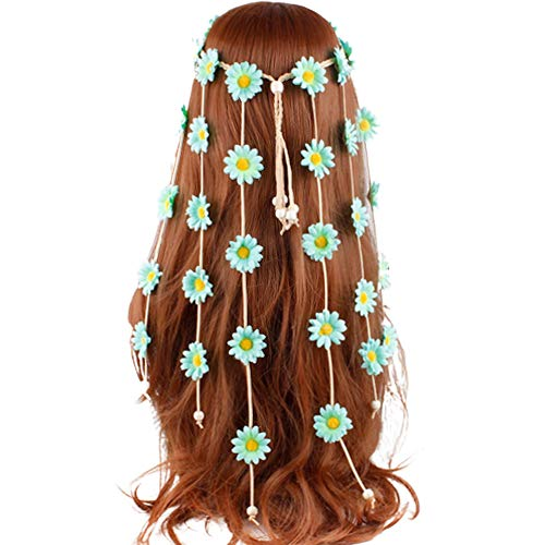 Bdrsjdsb Boho Femmes Tournesol Marguerite Gland Bandeau Guirlande Cheveux Style Accessoire Cheveux Chouchous Bandes pour Femmes Filles Menthe Verte