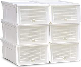 ElevenY Slide Type Plastic Shoe Rack Organizer Transparent Shoe Boxes Hanger Multifunctional DIY Clamshell Storage Box Home Organization (Color : White)