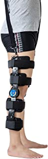 Hinged ROM Knee Brace with Strap, Post OP Patella Injury Immobilizer Brace Medical Orthopedic Guard Protector - Adjustable Full Leg Stabilizer Knee Orthosis Splint