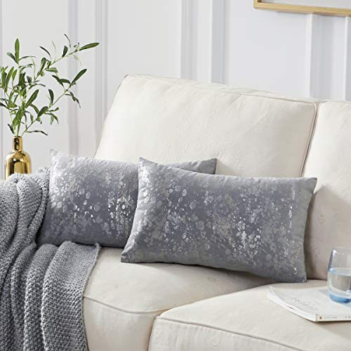 OMMATO Velvet Grey Cushion Covers 30cm x 50cm Square Silver Gold Print Decorative Throw Pillowcases 12 x 20 inch for Sofa Bedroom Living Room Pack of 2