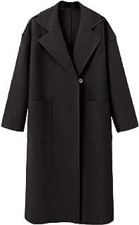 neveraway Womens Pockets Wool Blend Overcoat Classic Warm 2 Button Outwear Coat