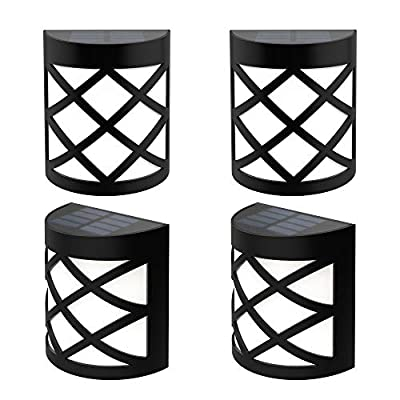 Briignite Solar LED Deck Lights Outdoor, Automatic Solar Wall Light, Warm White /Color Changing, Dusk to Dawn Waterproof Decorative Solar Fence Post Lights for Yard, Path and Driveway, 4 Pack