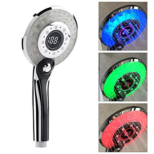 LED Duschkopf Bad Hand 3 Farben Temperaturkontrolle Farbwechsel Handbrause mit Digital Temperaturanzeige Wassersparmodus (#1)