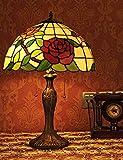 16 pouces de style pastoral vitrail Rose série lampe de table chambre à coucher...