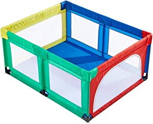 YEHL Playpen Colorful Baby  Portable Play Yard Children s Game Fence with Door  70cm Height  Size Optional  Size 120X150cm