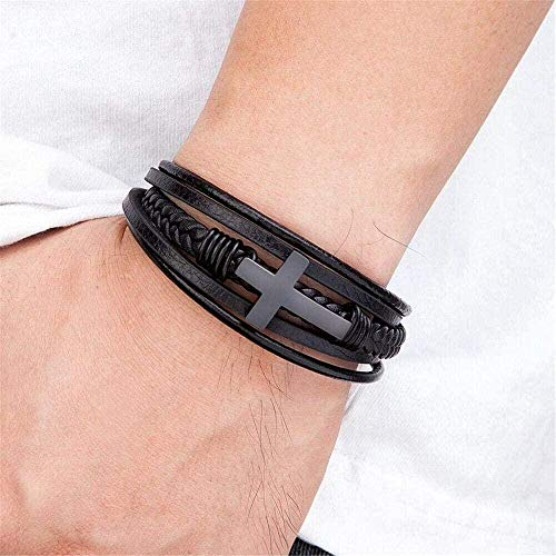 Faith Luxury - Pulsera de piel para hombre, diseño de cruz multicolor con cierre magnético de acero inoxidable negro hecho a mano