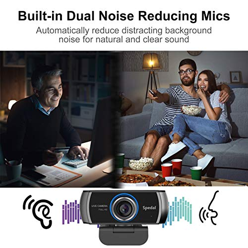Spedal HD Webcam 1080p mit Mikrofonen, Zoomfunktion Live Streaming Webcam H.264, 100° Sichtfeld PC Kamera für OBS Xbox XSplit Skype Facebook, Kompatibel für Mac OS Windows 10/8/7