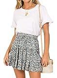 Doballa Damen Floral Taille Kordelzug mit Rüschen Ausgestelltes Boho A-Line Plissee Skater Minirock (M, Weiß)