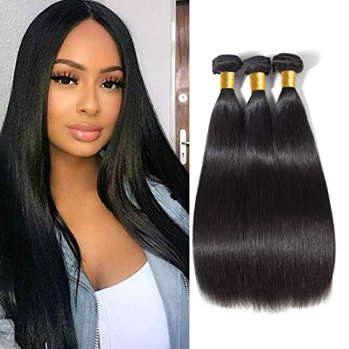YYONG Brazilian Hair Bundles 100 Human Hair Bundles of Brazilian Hair Uprocessed Virgin Hair Straight Weave Hair Human Bundles Deals Human Hair Extensions 3 Bundles Natural Color(8 10 12)