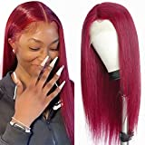 Lace Front Human Hair Wigs for Black Women with Baby Hair 9A Brazilian Human Hair Wigs Straight Lace Front Wigs 99j Colored 150% Density 20 Inch