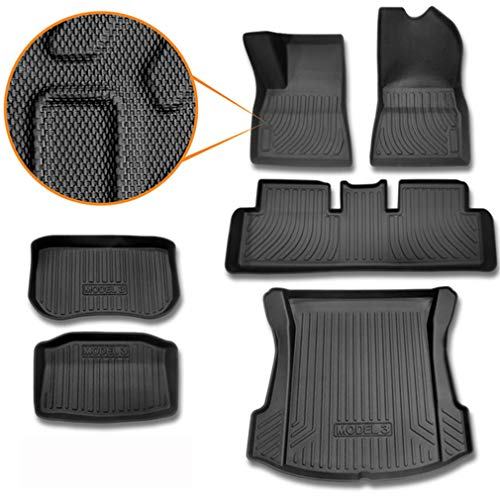 SUPER LINER All-Weather Floor Mats for Tesla Model 3 2017 2018 2019 Custom Fit Cargo Liner Rear Cargo Tray Trunk Mats Black Full Set