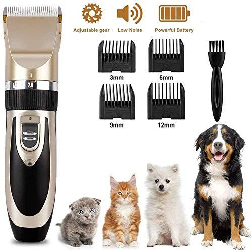YWJH Tierhaarschneidemaschine, Elektrische Hundeschermaschine Hundetrimmer, Schermaschine Für Hunde, Wiederaufladbares, Geräuscharmes, für Hunde Katzen Haustier