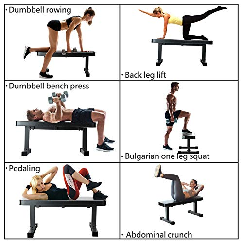 Murtisol Multifunctional Flat Weight Bench for Weight Training and Abdominal Exercise,Workout Excercise Fitness Bench,43.31''14.17''18.11'',Model 1211,Black