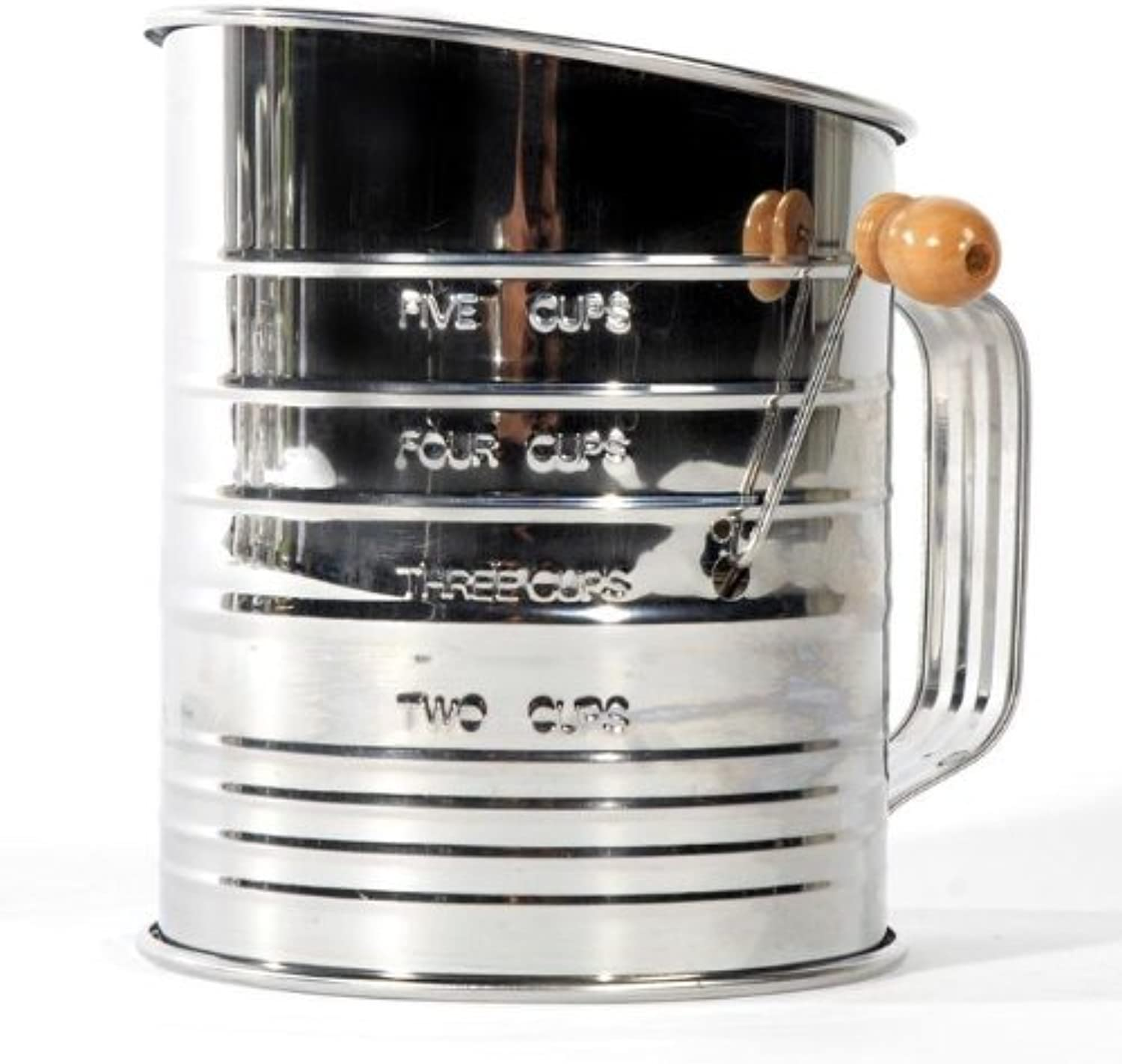 Jacob Bromwell All-American 5-Cup, 4-Wire Crank Sifter (Stainless)