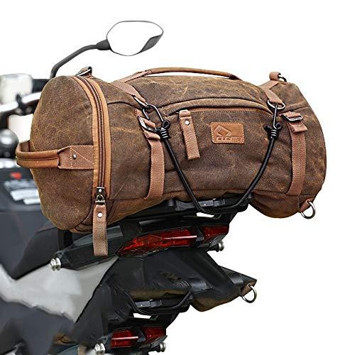 Motorrad Hecktasche Kompatibel für Vintage 35L Canvas Rucksack Gep°Ckrolle braun