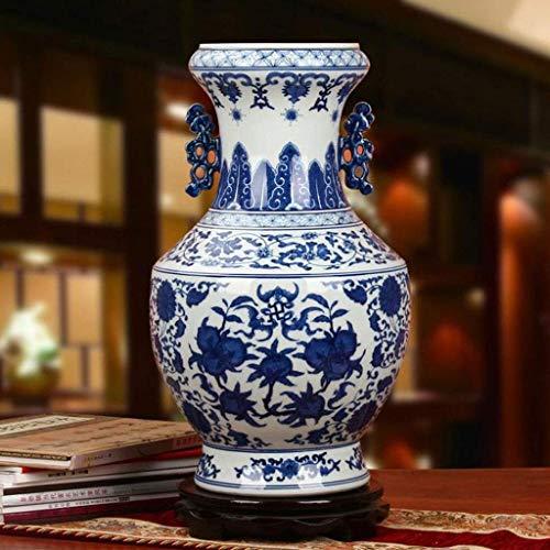 Jarrones Biaurales De Porcelana Azul Y Blanca Pintados A Man