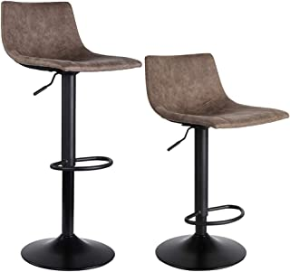 SUPERJARE Set of 2 Bar Stools, Swivel Barstool Chairs with Back, Modern Pub Kitchen Counter Height, Light Brown, Fabric