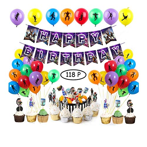 118 PCS Game Party Supplies Set Birthday Party Supplies Set for Game Lovers - Include Birthday Banner, Cake Topper, Cupcake Topper,Bottle Label and Balloon Party Decorations