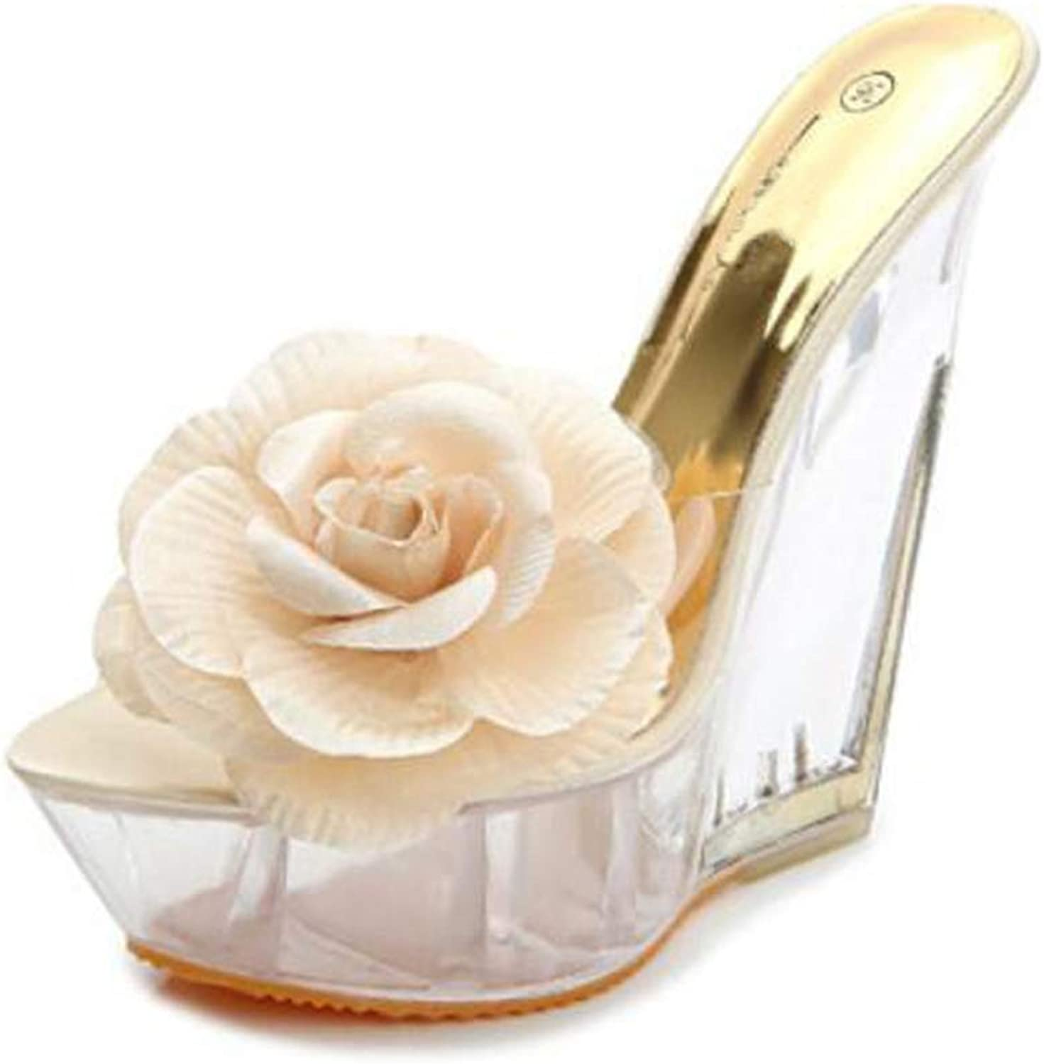 T-JULY Women shoes Transparent Sandals High Heels Slippers Shaped Resin Flowers Ladies Platform Wedges shoes