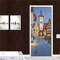 3Dドアステッカー壁画都市の道路景観 寝室の居間の浴室の家の装飾のための77x200cmの皮および棒の取り外し可能なビニールのドアのステッカー