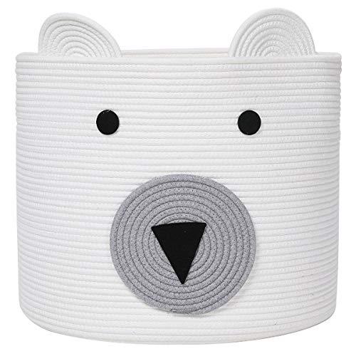 "Bear Basket, Animal Basket, Large Cotton Rope Basket, Large Storage Basket, Woven Laundry Hamper, Toy Storage Bin, for Kids Toys Clothes in Bedroom, Baby Nursery, White 18""x15"""