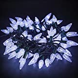 Twinkle Star C6 Christmas String Lights, 100 LED 33ft Fairy Lights with 29V Safe Adaptor, Indoor Outdoor 8 Lighting Modes for Patio Xmas Tree Wedding Party Decor, Cool White