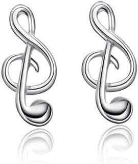 Belons Pendientes para niñas de plata de ley 925 con nota musical para mujer