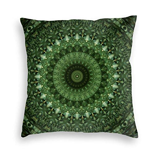 Mandala In Olive Green Tones Soft Decorative Square Throw Pillow Case Cushion Cover Pillowcase for Livingroom Sofa Bedroom with Invisible Zipper 45x45cm