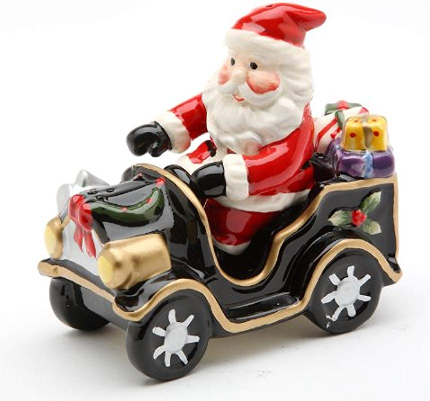 Cosmos Santa On Old Fashion Car Salt And Pepper Set 5 6 Inch Long