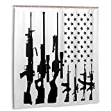 Gun American Flag - 2nd Amendment Rights USA Shower Curtain Set with 12 Hooks Polyester Fabric Bath Curtains Waterproof Decorative Thick Bathroom Curtain 66' X 72'