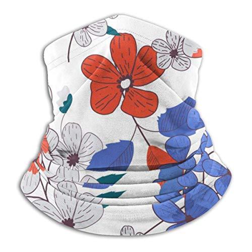 senob Bleu Rouge Gris Cinq pétales Fleur Chapeaux Chapeau Guêtre Plus Chaud Hiver Ski Tube Écharpe Masque Polaire Couvercle Visage Coupe-Vent pour Hommes Femmes