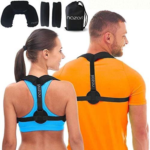 Nazari Haltungskorrektur für Damen und Herren – verstellbare Rückenbandage für Schulterrücken und Nackenschmerzen – Skoliose Kyphose und Schlüsselbein-Bandage – Plus Nackenkissen und Reisetasche