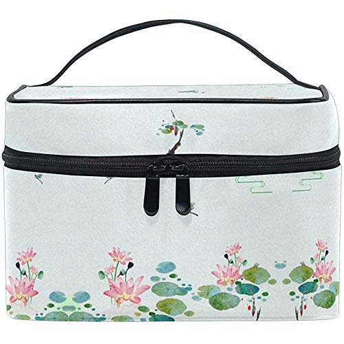 Trousse de maquillage Fresh Lotus Gragonfly Travel Cosmetic Bags Organizer Train Case Toiletry Make Up Pouch