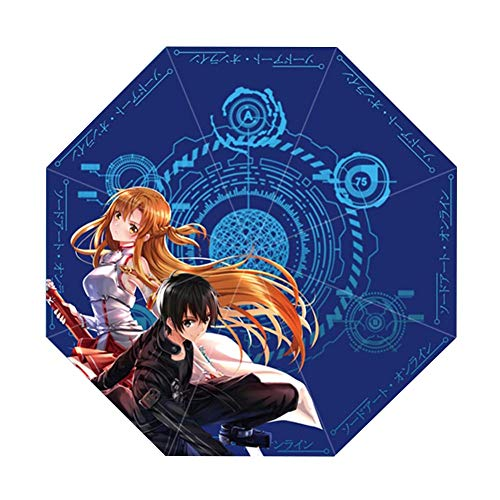 ALTcompluser Anime Paraguas Plegable, Paraguas de Bolsillo, Paraguas pequeño y Ligero, Compacto Sao/Sword Art Online