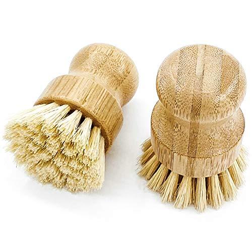 husMait Juego de 2 cepillos de palma – Diseño de madera superior y cerdas fuertes – Limpia y frota platos, ollas, sartenes, verduras y mucho más