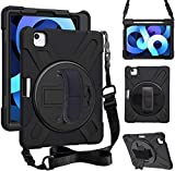 ZenRich iPad Air 4th Generation Case 2020, zenrich iPad 10.9 inch Case with Pencil Holder Stand Hand Strap Shoulder Belt Shockproof Case for iPad 10.9 inch 2020 A2072/A2316/A2324/A2325,Black