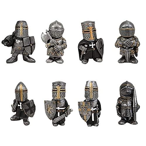 PUZOU Linda estátua de cavaleiro da guarda anão, escultura miniatura de cavaleiros para decoração de jardim, jardim, gramado, ornamentos de mesa
