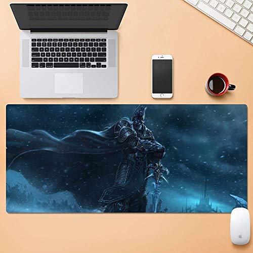 QZKFJ Alfombrilla Gaming, Grande Alfombrillas de Ratones de World of Warcraft Wow Rey Exánime Arthas Menethil Estera del Juego de Teclado extendido Mousepad del Ordenador PC