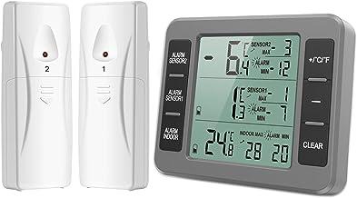 AMIR Termômetro Digital E Higrômetro, termômetro sem fio interno/externo, sensor de temperatura com alarme sonoro, medidor...