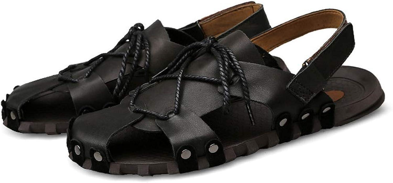 WANG XIN sommar ny herrar herrar herrar Sandals Män's läder Dual -Use strand skor Casual Mans skor Korean Version of the British Sandals  upp till 60% rabatt
