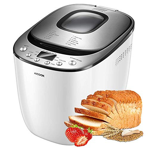 Bread Maker, AICOOK 2LB Automatic Bread Machine With Gluten Free Setting, LED Display, Nonstick Pan, 3 Crust Color & Keep Warm, Recipes (Renewed)