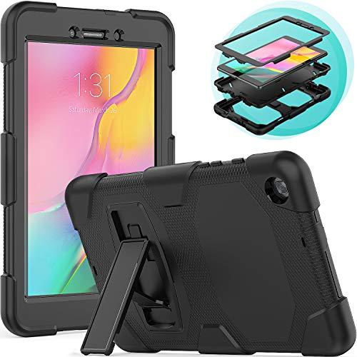 Timecity Hoesje voor Samsung Galaxy Tab A 8.0 2019 (SM-T290/T295 Case) met Lngebouwde Opvouwbare Standaard/Potloodhouder, Valbestendige, Krasbestendige Bescherm Galaxy Tab A8 Case - Zwart