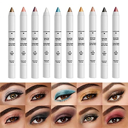 Meliorak Fashion Eyeshadow Pen Waterproof Non-Smudge Nude Makeup Base Highlighter Eyeshadow Shimmer Eye Shadow Pencil Long Lasting Cosmetic Eye Makeup Gift for Girls Women