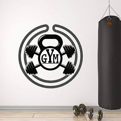 Gimnasio calcomanías de pared moda culturismo fitness estilo de vida deportivo club vinilo hombre cueva interior autodecomatista pegatinas de pared-57x57cm