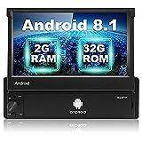 Android 8.1 Radio Coche 2G + 32G, Podofo 1 DIN Radio Coche Bluetooth 7 Pulgadas Pantalla táctil retráctil Reproductor GPS Soporte WiFi Sat Navi Mirror Link FM USB Car Vadio + Cámara de Respaldo
