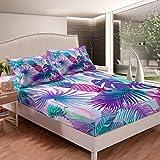 Juego de sábanas de hojas tropicales para cama de piña, juego de sábanas de hoja de palma para niños, niños, niñas, temática de naturaleza botánica, funda de cama de microfibra, tamaño individual