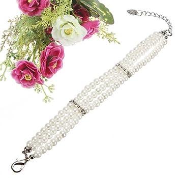 DcolorBijou pour chien collier chien-chat Perle accessoires chiens decoration S blanc