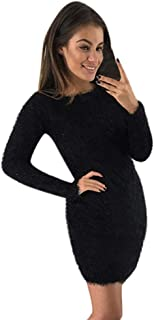 Aniywn Women Autumn Winter Bodycon Dress Long Sleeve Solid Color Warm Fleece Plush Short Mini Dresses