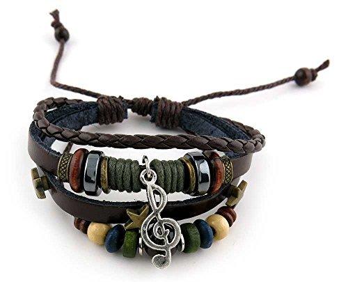 1 Piece Women's Men's Fashion Strand Bracelet Leather Handmade 2098 Beads Music Symbol Braided Bangle